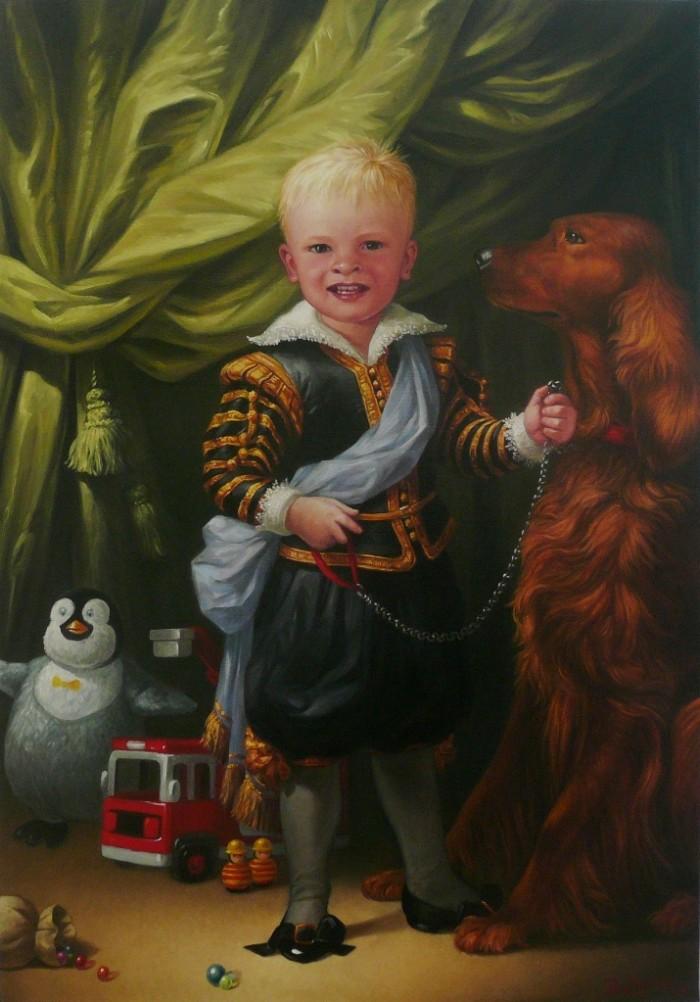 Portrait d'Eliott – huile sur toile – 116 cm h x 81 cm L