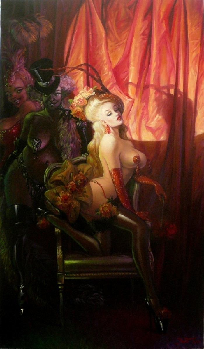 BURLESQUE 195 CM X 114 CM OIL ON CANVAS