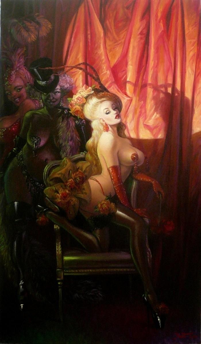 BURLESQUE – Huile sur toile – 195 cm x 114 cm L