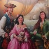 Pirates portrait collectif de le famille  herry oil on canvas 162 x 130 cm