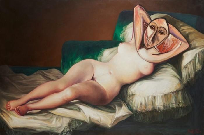 LA DORA DESNUDA – Huile sur toile – 97 cm x 146 cm