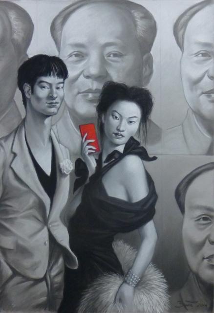 PASTEL MR & MRS YUAN PASTEL et CRAYON NOIR 100 X 70 CM - Copie