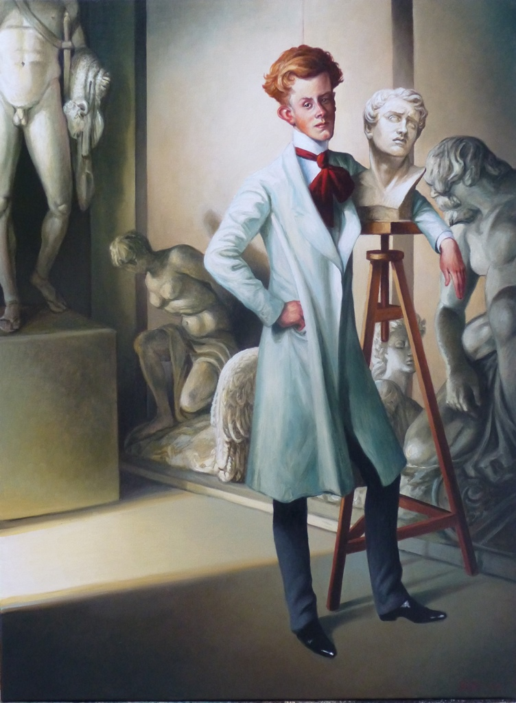 LE DANDY SCULPTEUR - OIL ON CANVAS -- 81 CM X 60 CM